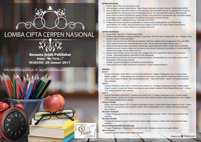 poster Cipta Cerpen Nasional Jejak Publisher Tema My First